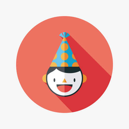 Birthday party boy flat icon with long shadow,eps10 Vector