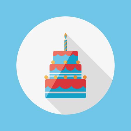 wedding cake isolated: birthday cake flat icon with long shadow Illustration