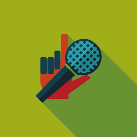 Microphone flat icon with long shadow Vector