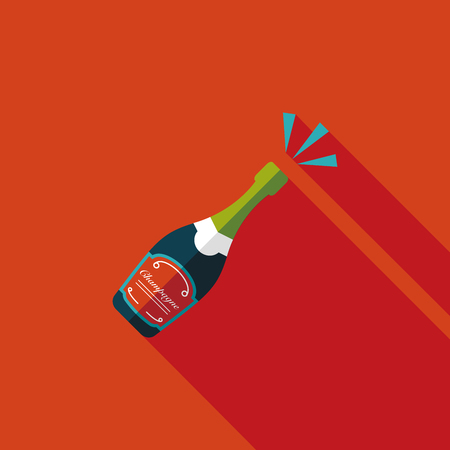 botella champagne: Icono plano Botella de vino con larga sombra