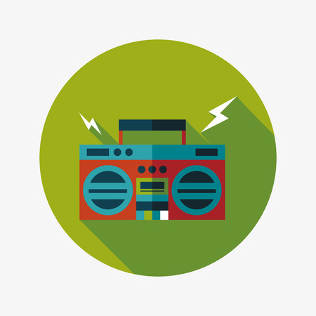 ghetto blaster audio flat icon with long shadow Vector