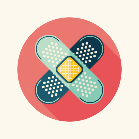 medical bandage flat icon with long shadow
