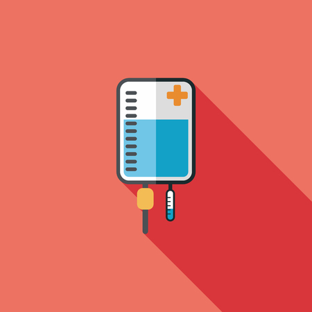 iv bag: IV bag flat icon with long shadow Illustration