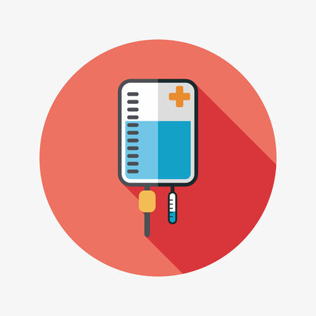 IV bag flat icon with long shadow Vector