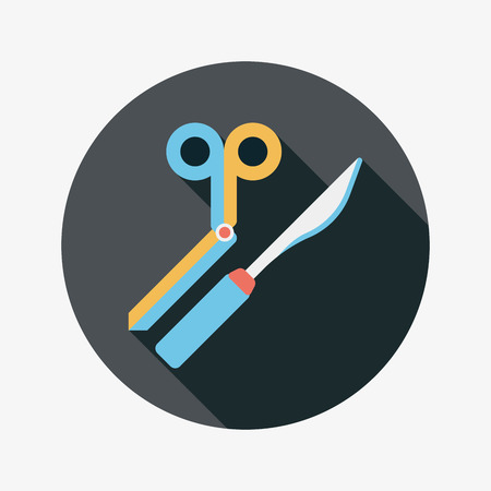 suture: Surgical Instrument flat icon with long shadow