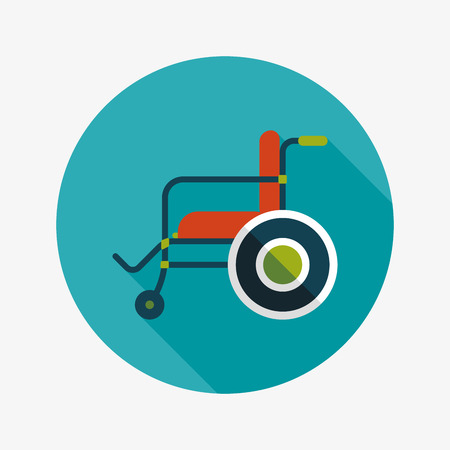 wheelchair: Wheelchair flat icon with long shadow