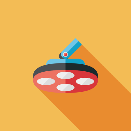 operating: operating theatre light flat icon with long shadow