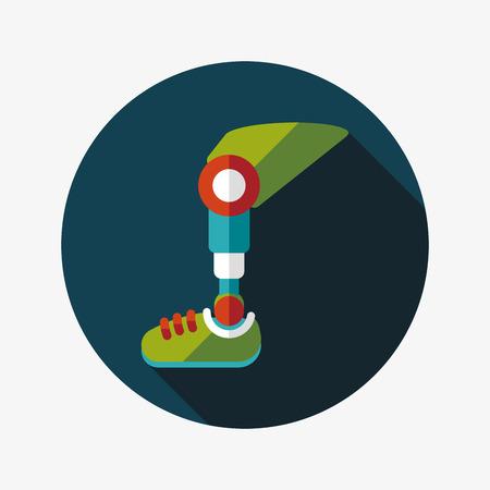 bionico: protesico icona piatto gamba con una lunga ombra