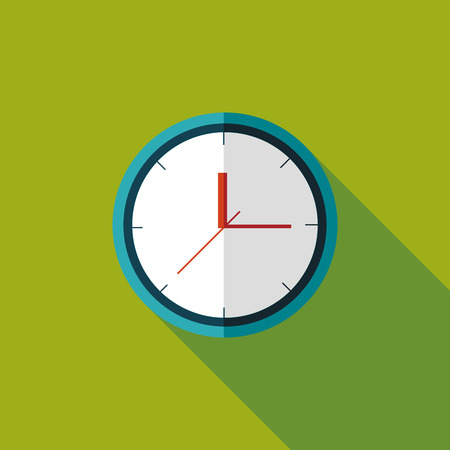 clock face: Clock flat icon with long shadow Illustration