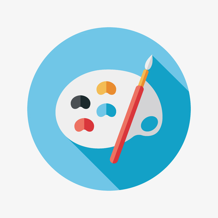 Art palette with paint brush flat icon with long shadow