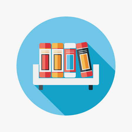 bookshelf flat icon with long shadow