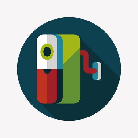 sharpener: Pencil sharpener flat icon with long shadow Illustration