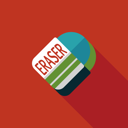 Eraser flat icon with long shadow Vector