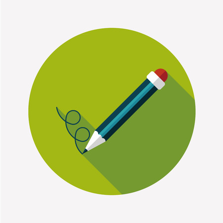 Pencil flat icon with long shadow Vector