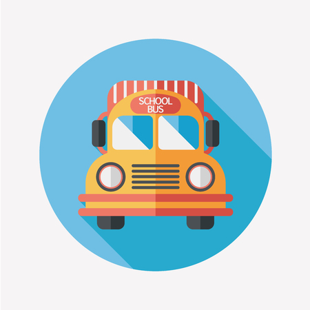 School Bus flat icon with long shadow