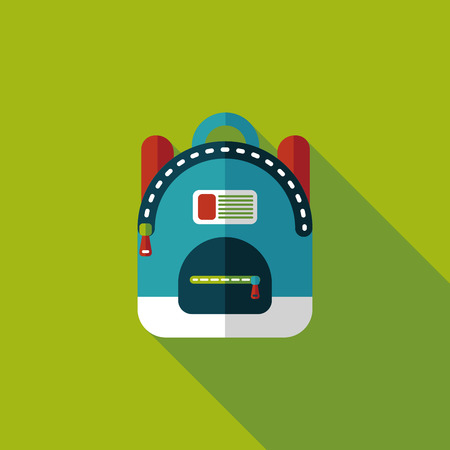 backpack flat icon with long shadow Vector