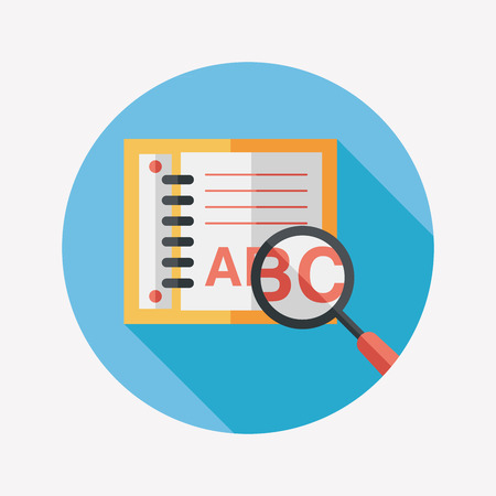 search Dictionary book flat icon with long shadow Vector