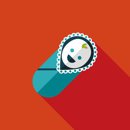 baby smile: baby flat icon with long shadow Illustration