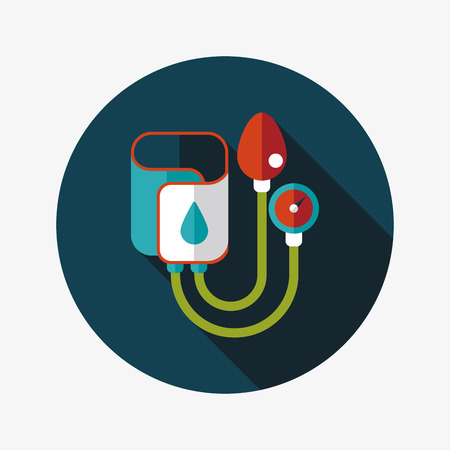 blood pressure monitor: Sphygmomanometer flat icon with long shadow