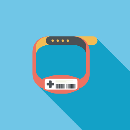 inpatient: Patient ID Bracelet flat icon with long shadow