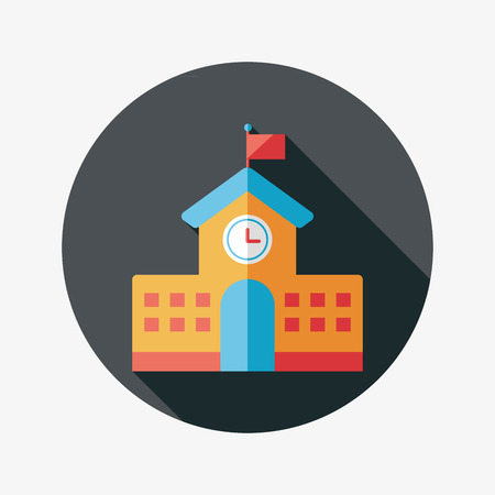 steeple: School building flat icon with long shadow Illustration