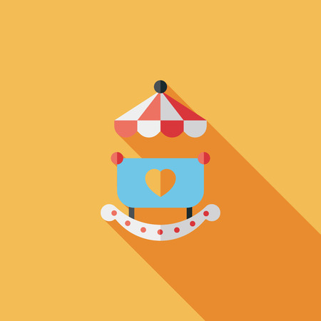 deluxe: baby cradle bed flat icon with long shadow Illustration