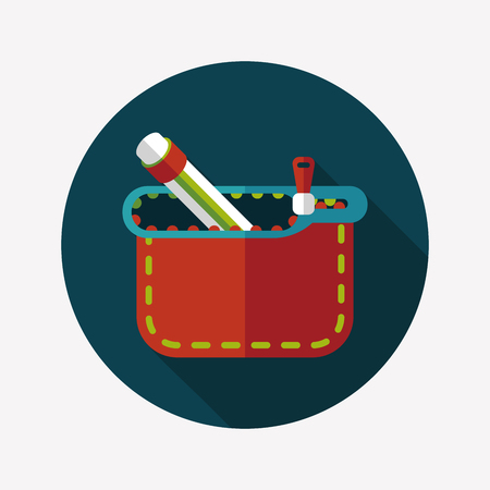 pencil box flat icon with long shadow Vector