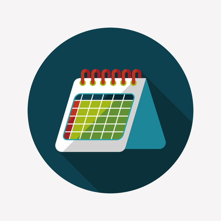 Calendar flat icon with long shadow Vectores