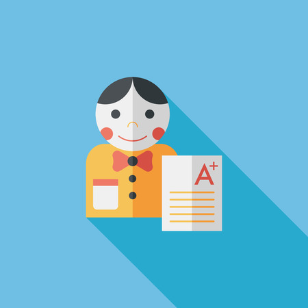 A plus grade in the notebook,flat icon with long shadow Illustration
