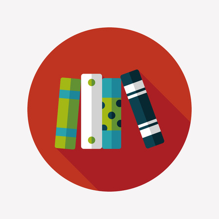 bibliography: bookshelf flat icon with long shadow