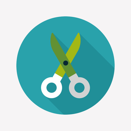 Scissors flat icon with long shadow Vector