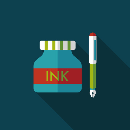 signing document: pen and  ink bottle flat icon with long shadow