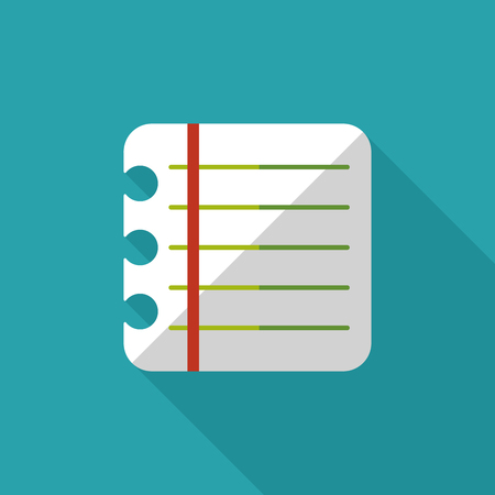 periodicals: notebook paper flat icon with long shadow