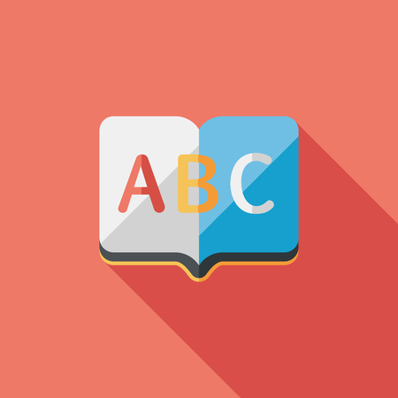 Dictionary book flat icon with long shadow