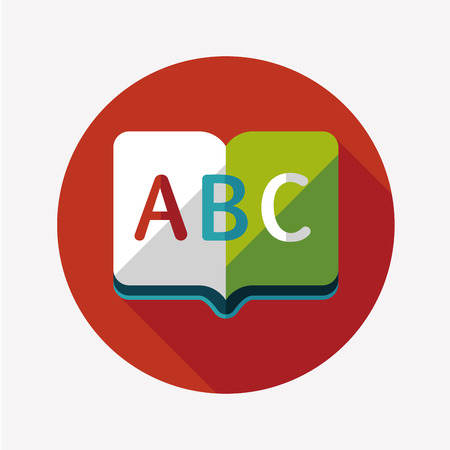 Dictionary book flat icon with long shadow Vector