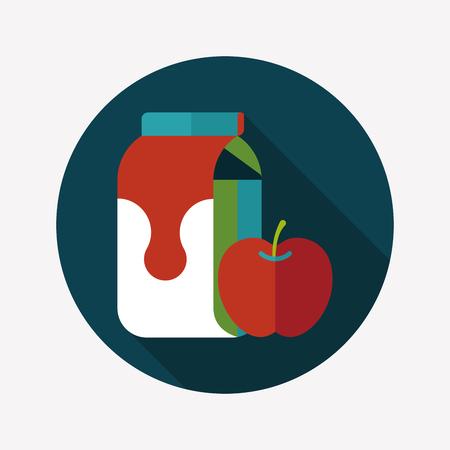 pasteurized: milk and apple flat icon with long shadow