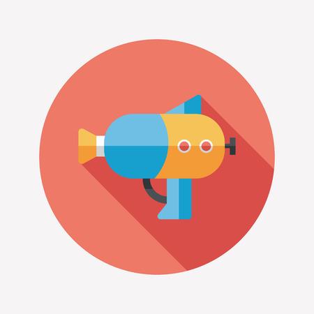 watergun: Water Gun flat icon with long shadow