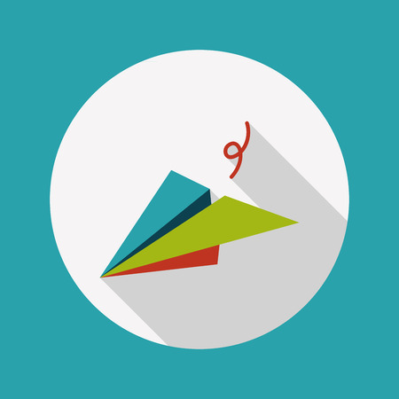 logotipo turismo: icono plana avión de papel con una larga sombra