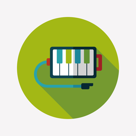 piano flat icon with long shadow Vector