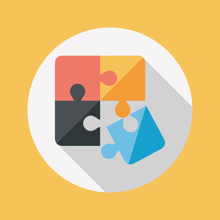 puzzle shadow: Puzzle flat icon with long shadow,EPS 10