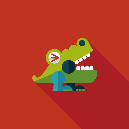 crocodile toy flat icon with long shadow,eps10 Vectores