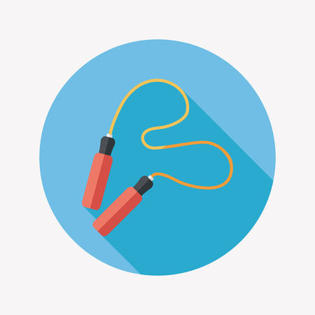 jump rope: Skipping rope flat icon with long shadow