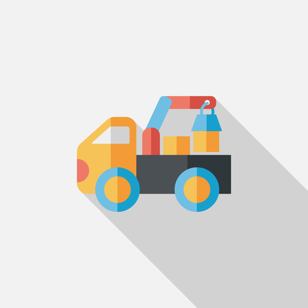 over sized: truck flat icon with long shadow,eps10 Illustration