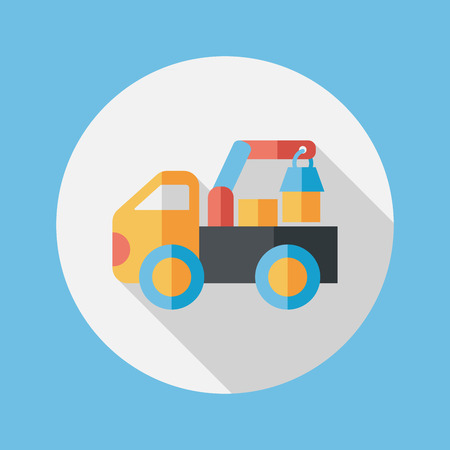 truck flat icon with long shadow,eps10 Illustration