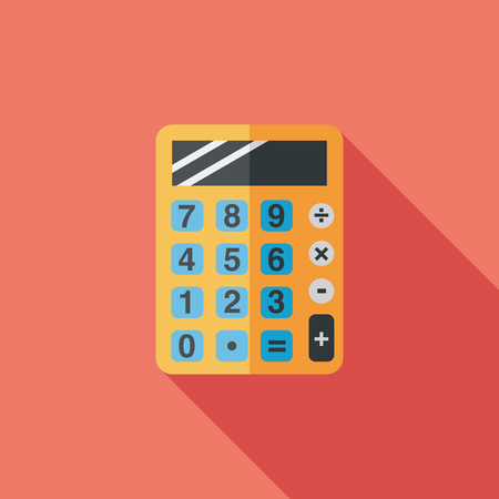 calculator flat icon with long shadow,eps10 Vector