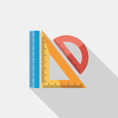 millimeters: Ruler flat icon with long shadow,eps10