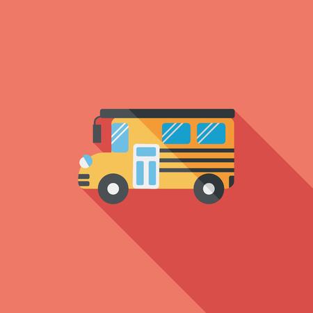 elementary school: School Bus flat icon with long shadow,eps10
