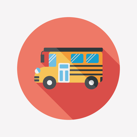 back view student: School Bus flat icon with long shadow,eps10