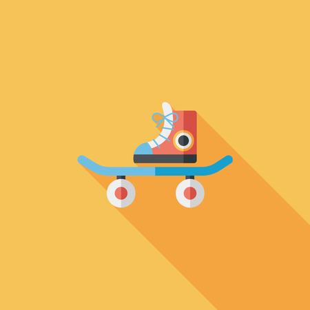 Skateboard flat icon with long shadow Vector