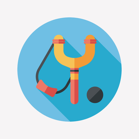 sling: slingshot flat icon with long shadow,eps10